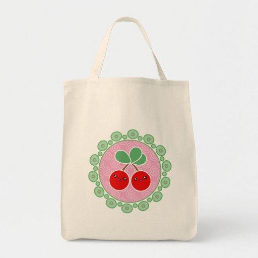 La feliz bolsa de asas de Kawaii de las cerezas