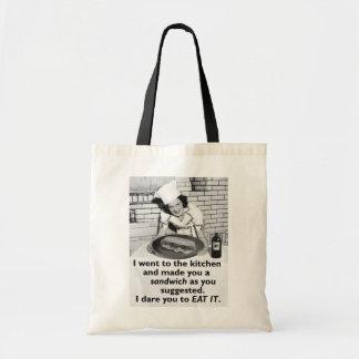 La feminista divertida me hace un bocadillo bolsa tela barata