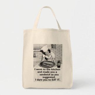 La feminista divertida me hace un bocadillo bolsa tela para la compra