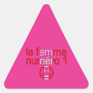 La Femme Numéro 1 - esposa del número 1 en Pegatina Triangular