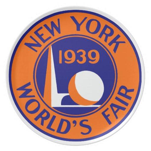 La feria 1939 de mundo de Nueva York Plato Para Fiesta