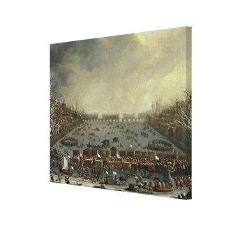 La feria de Frost del invierno de 1683-4 en el Tha Impresion En Lona