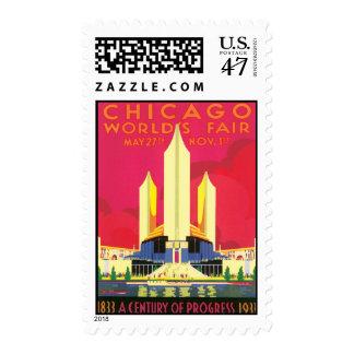 La feria de mundo de Chicago del vintage Estampilla