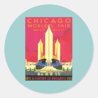 La feria de mundo de Chicago del vintage Pegatina Redonda