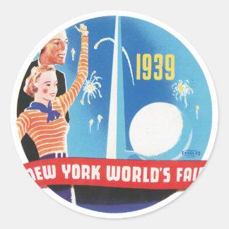 La feria de mundo de Nueva York 1939 Pegatina Redonda