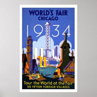 """La """"feria de mundo, vintage de Chicago 1934"""" Posters"""