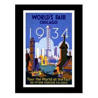 La feria de mundo vintage de Chicago 1934 Tarjetas Postales