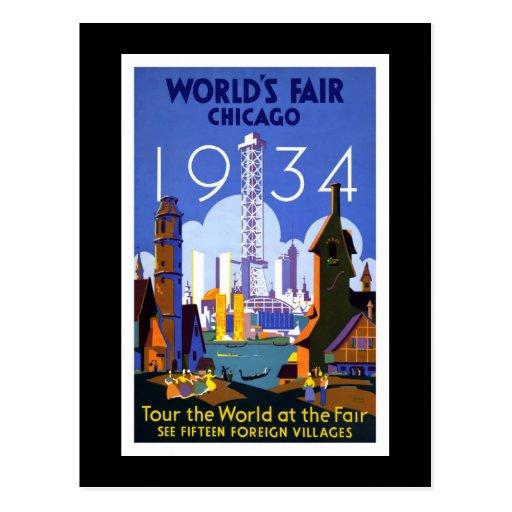 "La ""feria de mundo, vintage de Chicago 1934"" Tarjetas Postales"