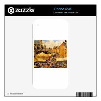 La feria en Dieppe, mañana soleada de Camilo Pissa Calcomanía Para iPhone 4S