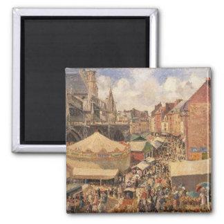 La feria en Dieppe, Morning soleada, 1901 Imán Cuadrado