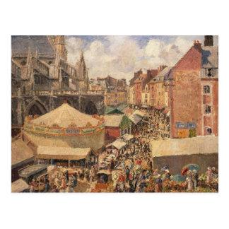 La feria en Dieppe, Morning soleada, 1901 Postal