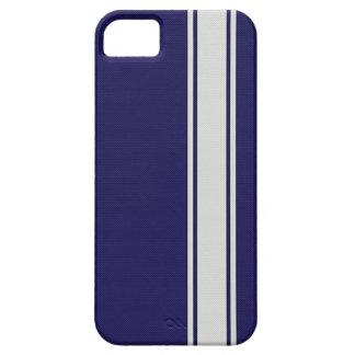 La fibra de carbono azul y blanca raya la caja del iPhone 5 coberturas