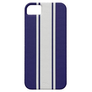 La fibra de carbono azul y blanca raya la caja del iPhone 5 Case-Mate protector