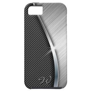 La fibra de carbono y cepilló la caja de la mota iPhone 5 funda