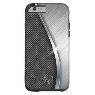 La fibra de carbono y cepilló la caja del metal 4 funda de iPhone 6 tough