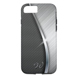 La fibra de carbono y cepilló la caja del metal 4 funda iPhone 7