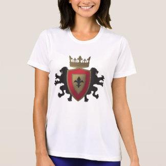 La fibra micro T del león de Ladie medieval rojo Camisetas