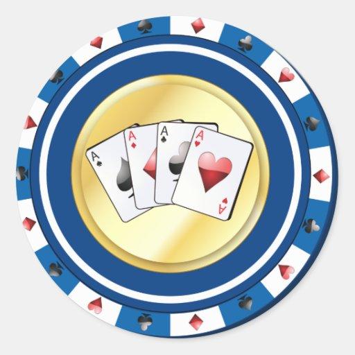 La ficha de póker azul con el patio Aces al Pegatina Redonda