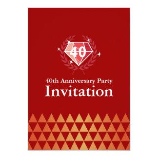 """La fiesta de aniversario de rubíes de lujo de las invitación 5"""" x 7"""""""