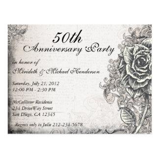 La fiesta de aniversario subió vintage elegante in tarjeta postal