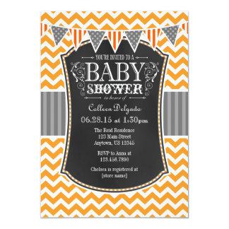 """La fiesta de bienvenida al bebé anaranjada de invitación 5"""" x 7"""""""