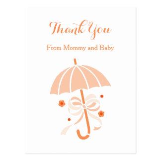 La fiesta de bienvenida al bebé anaranjada linda postales