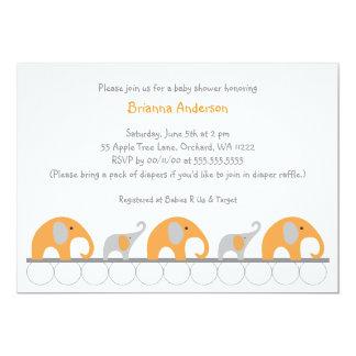 """La fiesta de bienvenida al bebé anaranjada y gris invitación 5"""" x 7"""""""