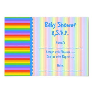 """La fiesta de bienvenida al bebé, arco iris raya el invitación 3.5"""" x 5"""""""