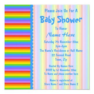 """La fiesta de bienvenida al bebé, arco iris raya el invitación 5.25"""" x 5.25"""""""