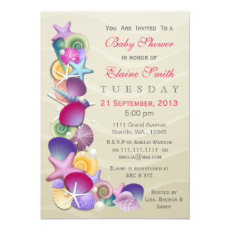 """la fiesta de bienvenida al bebé arenosa del rosa invitación 5"""" x 7"""""""
