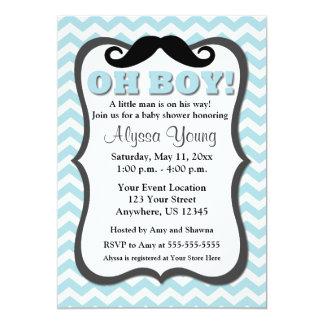 """La fiesta de bienvenida al bebé azul de Chevron Invitación 5"""" X 7"""""""