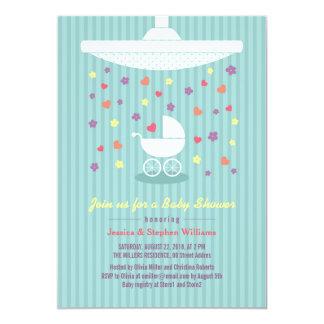 """La fiesta de bienvenida al bebé azul de la menta invitación 5"""" x 7"""""""