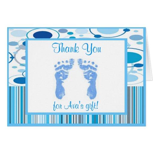 La fiesta de bienvenida al bebé azul de las rayas  tarjeta pequeña