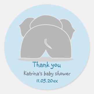La fiesta de bienvenida al bebé azul del elefante pegatina redonda
