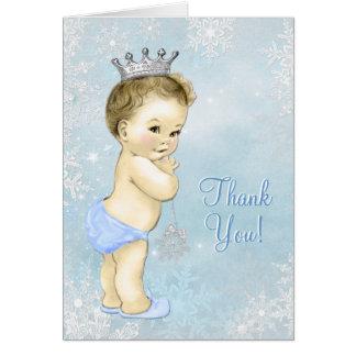 La fiesta de bienvenida al bebé azul del muchacho tarjeta pequeña