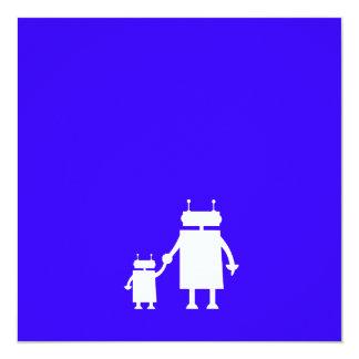 La fiesta de bienvenida al bebé azul del robot del invitación 13,3 cm x 13,3cm