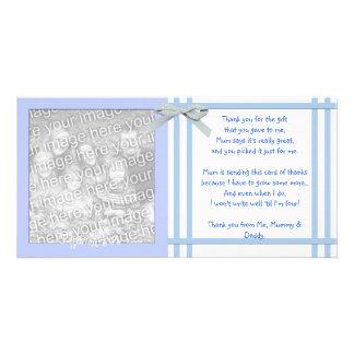 La fiesta de bienvenida al bebé azul le agradece c tarjetas personales
