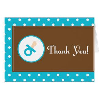La fiesta de bienvenida al bebé (azul) le agradece tarjeta pequeña