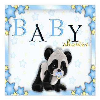 La fiesta de bienvenida al bebé azul linda del oso invitacion personalizada