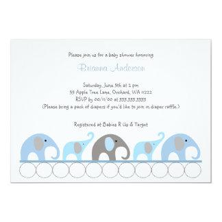 La fiesta de bienvenida al bebé azul y gris de los invitación 12,7 x 17,8 cm