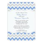 La fiesta de bienvenida al bebé azul y gris del invitación 12,7 x 17,8 cm