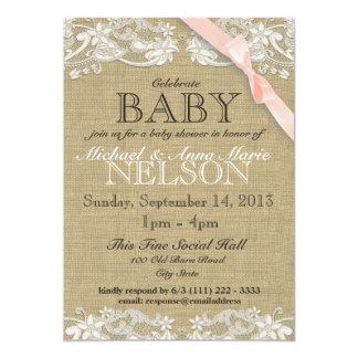 La fiesta de bienvenida al bebé blanca floral del invitación 12,7 x 17,8 cm
