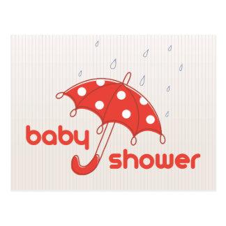 La fiesta de bienvenida al bebé blanca roja modern tarjetas postales