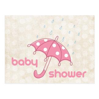 La fiesta de bienvenida al bebé blanca rosada mode postal