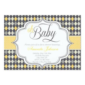 """La fiesta de bienvenida al bebé de Argyle del bebé Invitación 5"""" X 7"""""""