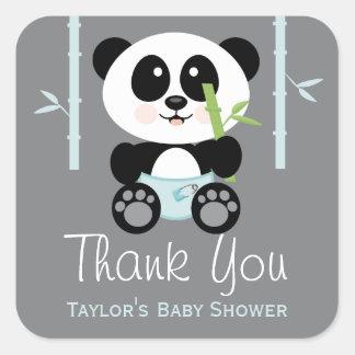 La fiesta de bienvenida al bebé de bambú azul de pegatina cuadrada