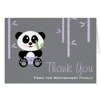 La fiesta de bienvenida al bebé de bambú púrpura tarjeta pequeña