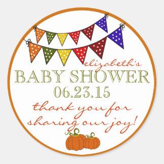 La fiesta de bienvenida al bebé de golpe ligero de etiqueta redonda