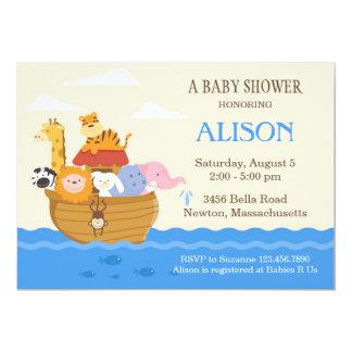 """La fiesta de bienvenida al bebé de la arca de Noah Invitación 5"""" X 7"""""""