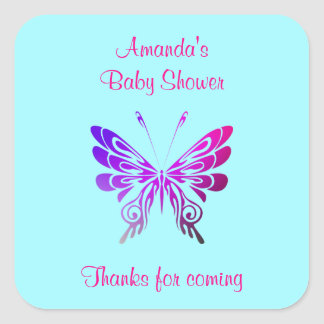 La fiesta de bienvenida al bebé de la mariposa le pegatina cuadrada